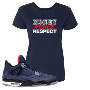 Jordan 4 WNTR Loyal Blue Money, Power, Respect Navy Sneaker Hook Up Women's T-Shirt