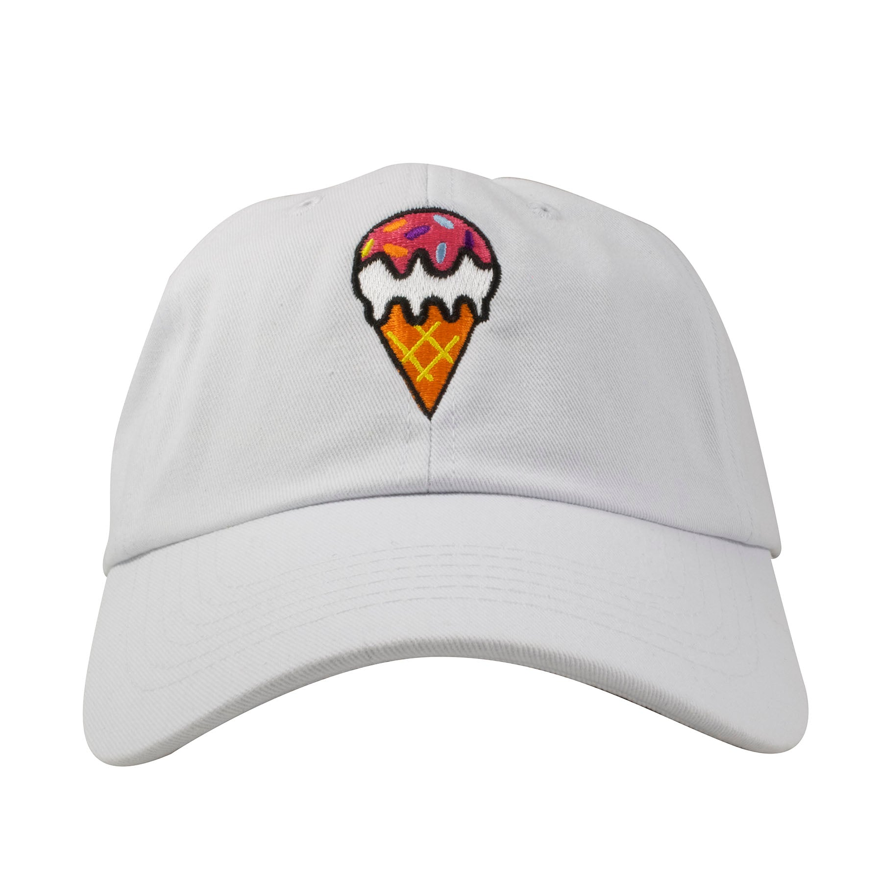 9378f322f8b The ice cream cone embroidered on the front of the white ice cream cone dad  hat