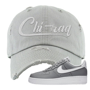 Air Force 1 Low Wolf Grey White Distressed Dad Hat | Light Gray, Chiraq