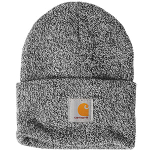 Stitched on the front of the Carhartt raised cuff knit winter watch hat is the Carhartt label