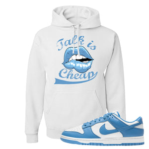 SB Dunk Low University Blue Hoodie | Talk Is Cheap, White