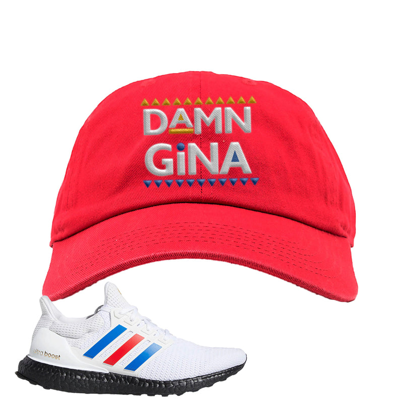 Ultra Boost White Red Blue Dad Hat | Red, Damn Gina