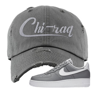 Air Force 1 Low Wolf Grey White Distressed Dad Hat | Dark Gray, Chiraq