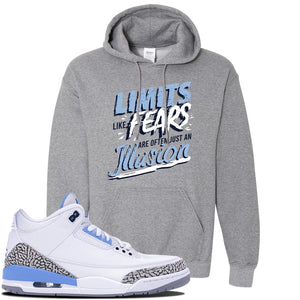 Jordan 3 UNC Sneaker Graphite Heather Pullover Hoodie | Hoodie to match Nike Air Jordan 3 UNC Shoes | Limits Like Fears