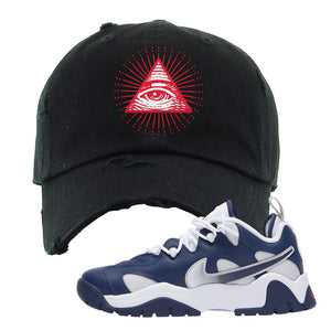 Air Barrage Low USA Distressed Dad Hat | Black, All Seeing Eye
