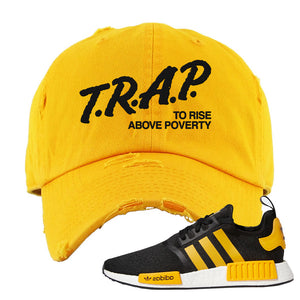 NMD R1 Active Gold Distressed Dad Hat | Gold, Trap To Rise Above Poverty