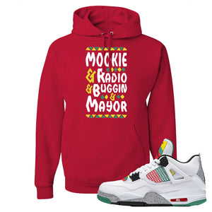 Jordan 4 WMNS Carnival Sneaker True Red Pullover Hoodie | Hoodie to match Do The Right Thing 4s | Mookie And Gang