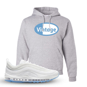 Air Max 97 White/Ice Blue/White Sneaker Ash Pullover Hoodie | Hoodie to match Nike Air Max 97 White/Ice Blue/White Shoes | Vintage Oval