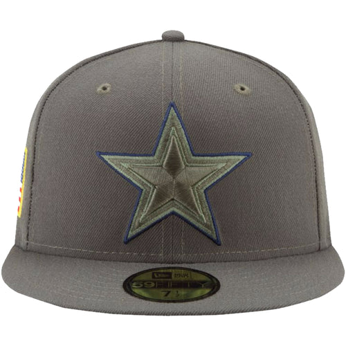 on the front of the dallas cowboys salute to service fitted cap, the cowboys logo is embroidered in green