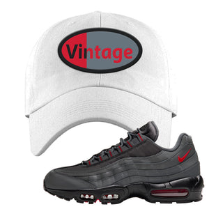 Air Max 95 Dark Gray and Red Dad Hat | Vintage Oval, White