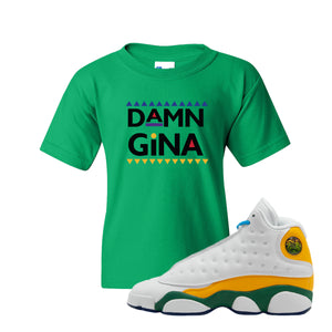 Damn Gina Irish Green Kid's T-Shirt to match Air Jordan 13 GS Playground Kids Sneakers