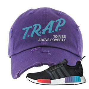 NMD R1 Gradient Distressed Dad Hat | Purple, Trap To Rise Above Poverty