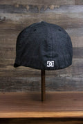the back of the Dark Gray Bentbrim Skater Hat | DC Shoes Black Bottom Heather Gray Flexfit Cap is elastic for a flex fit