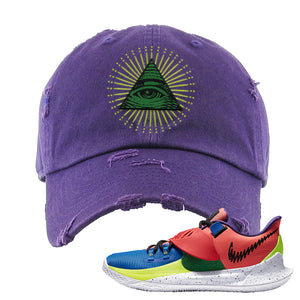Kyrie Low 3 NY vs NY Distressed Dad Hat | All Seeing Eye, Purple