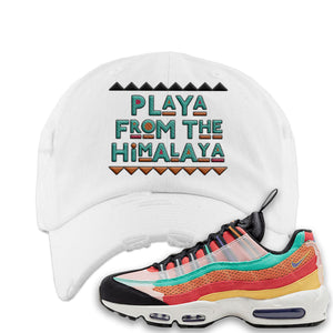 Air Max 95 Black History Month Sneaker White Distressed Dad Hat | Hat to match Air Max 95 Black History Month Shoes | Playa From The Himalaya