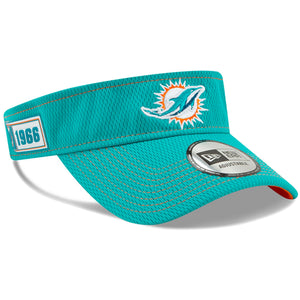 Men's Miami Dolphins New Era Aqua 2019 NFL On Field Sideline Road Official Teal Visor