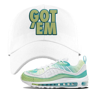 WMNS Air Max 98 Bubble Pack Sneaker White Dad Hat | Hat to match Nike WMNS Air Max 98 Bubble Pack Shoes | Got Em