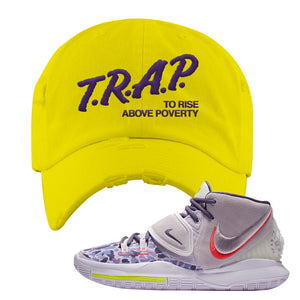 Kyrie 6 Asia Irving Distressed Dad Hat | Trap To Rise Above Poverty, Yellow