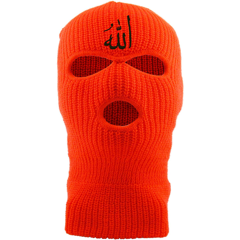 Embroidered on the front of the safety orange Allah ski mask is the arabic writing for the word allah