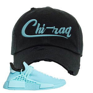 Pharell x NMD Hu Aqua Distressed Dad Hat | Chiraq, Black
