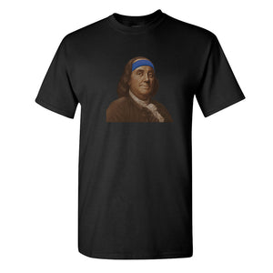 Ben Franklin Sweatband T-Shirt | Ben Franklin Sweat Band Black T-Shirt the front of this t-shirt has ben franklin with a sweatband