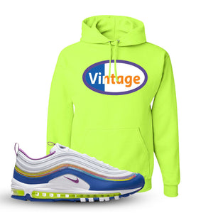 Air Max 97 'Easter' Sneaker Safety Green Pullover Hoodie | Hoodie to match Nike Air Max 97 'Easter' Shoes | Vintage Oval