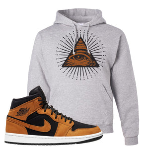 Air Jordan 1 Mid Wheat Hoodie | All Seeing Eye, Ash