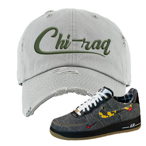 Air Force 1 Low Plaid And Camo Remix Pack Distressed Dad Hat | Chiraq, Light Gray