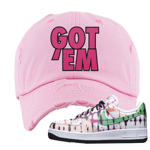 Air Force 1 Low Multi-Colored Tie-Dye Distressed Dad Hat | Light Pink, Got Em