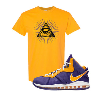 Lebron 8 Lakers T Shirt | All Seeing Eye, Gold