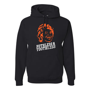 Ruthless & Toothless Pullover Hoodie | Ruthless & Toothless Black Pull Over Hoodie the front of this hoodie has the ruthless and toothless design