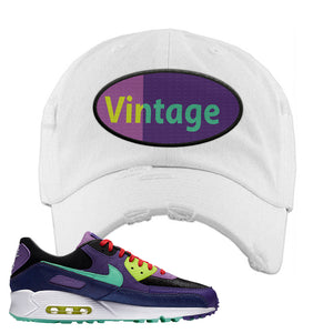 Air Max 90 Cheetah Distressed Dad Hat | Vintage Oval, White