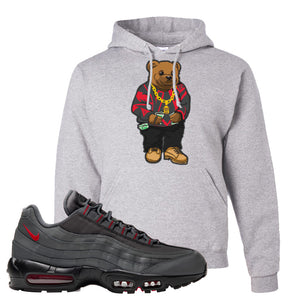 Air Max 95 Dark Gray and Red Pullover Hoodie | Sweater Bear, Ash