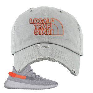 Yeezy Boost 350 V2 Tail Light Sneaker Light Gray Distressed Dad Hat | Hat to match Adidas Yeezy Boost 350 V2 Tail Light Shoes | Local Trap Star
