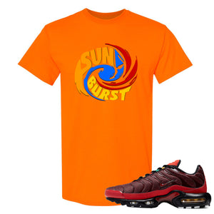 printed on the front of the air max plus sunburst sneaker matching safety orange tee shirt is the sunburst hurricane logo