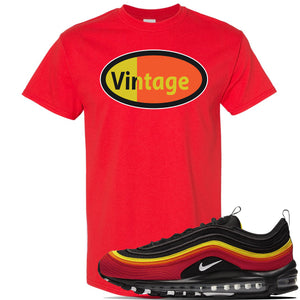 Air Max 97 Black/Chile Red/Magma Orange/White Sneaker Red T Shirt | Tees to match Nike Air Max 97 Black/Chile Red/Magma Orange/White Shoes | Vintage Oval