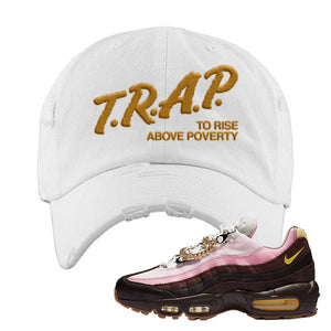 Air Max 95 Cuban Links Distressed Dad Hat | White, Trap To Rise Above Poverty