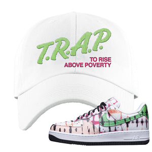 Air Force 1 Low Multi-Colored Tie-Dye Dad Hat | White, Trap To Rise Above Poverty