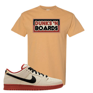 SB Dunk Low Muslin T Shirt | Dunks N Board, Old Gold