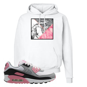 WMNS Air Max 90 Rose Pink Marble Mosaic White Pullover Hoodie To Match Sneakers