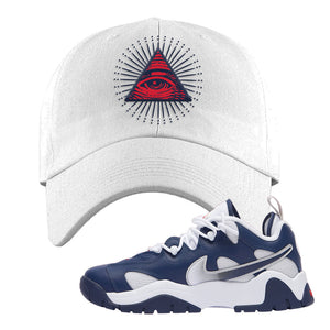 Air Barrage Low USA Dad Hat | White, All Seeing Eye