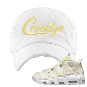Air More Uptempo Light Citron Distressed Dad Hat | Crooklyn, White