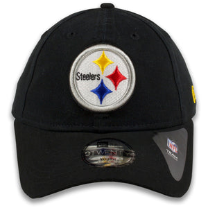 Youth Pittsburgh Steelers Classic Team Logo Adjustable Black 9Twenty New Era Kid's Dad Hat