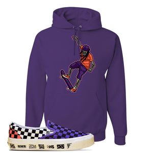 Vans Slip On Venice Beach Pack Hoodie | Deep Purple, Skeleton Skateboarder