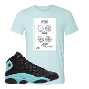 Diamond Patent Heather Ice Blue T-Shirt To Match Jordan 13 Island Green Sneakers
