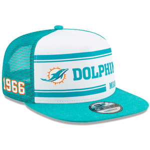 Men's Miami Dolphins New Era White/Aqua 2019 NFL Sideline Home Official 9FIFTY 1970s Snapback Mesh-Back Trucker Hat