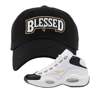 Question Mid Black Toe Sneaker Black Dad Hat | Hat to match Reebok Question Mid Black Toe Shoes | Blessed Arch