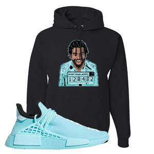 Pharell x NMD Hu Aqua Hoodie | Escobar Illustration, Black