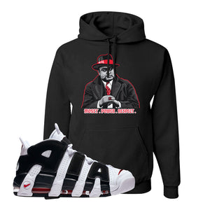 Air More Uptempo White Black Red Hoodie | Black, Capone Illustration