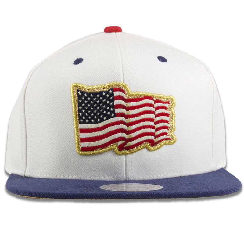 American Flag Fourth of July Gold Trim White on Navy Blue Snapback Hat